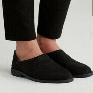 EILEEN FISHER black leather Depan Nu slip on flats